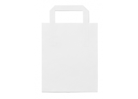 Sacosa kraft alb 26*17*24 cu maner plat (CMI)